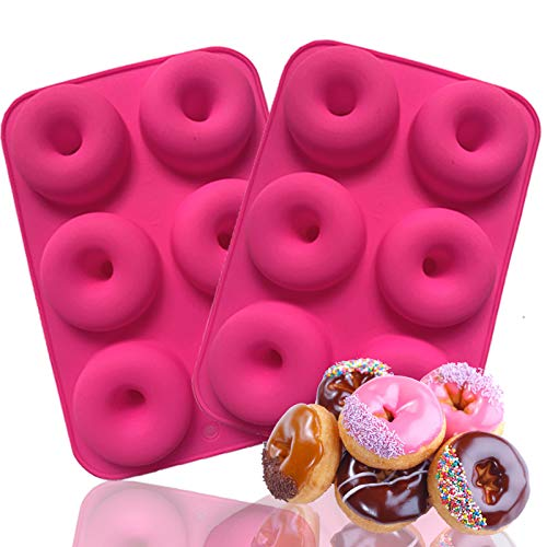 ANAEAT Silicone Donut Pan Baking Mold, Non-Stick Doughnuts Baking Pans for 6 Full-Size Donuts, Cake Biscuit Bagels - Easy Clean, BPA Free, Microwave, Oven, Dishwasher, Freezer Safe (2 Pack-Pink)
