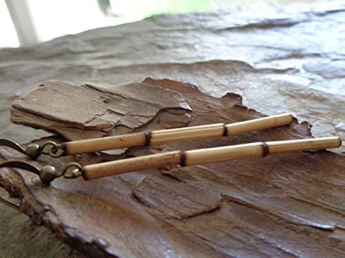 ♥ LANGE HOLZ & ETHNO OHRRINGE ♥ Bambus Ohrringe in bronze