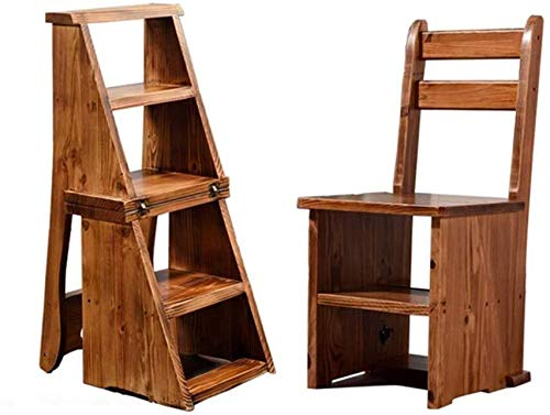 CHGDFQ Taburete plegable de madera maciza para escalones para el hogar, multifuncional de cuatro pasos, escalera de madera ascendente, doble uso, pequeño escalón (color: marrón claro)