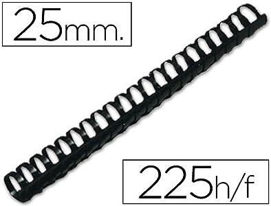 Q-Connect Canutillo Redondo 25 Mm Plástico Negro Capacidad 225 Hojas Caja De 50 Unidades