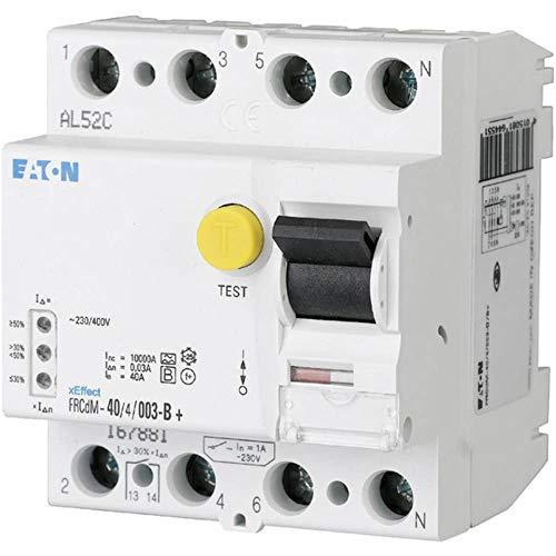 Eaton 167885 digitaler allstromsensitiver FI-Schalter, 40A, 4p, 300mA, Typ G/B+