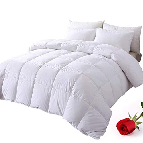 DOWNCOOL 100% Cotton Quilted Down Comforter with Corner Tabs - White Goose Duck Down Feather Filling - Lightweight and Medium Warmth Box Stitched All-Season Duvet Insert - King