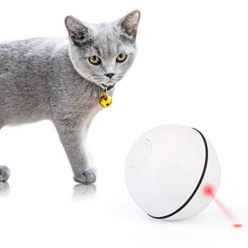 Mitening Gatto Palla Automatica, Giocattolo Gatto Interattivi Palla per Animali Domestici con Luce a LED 360 Gradi Rotazione Automatica Cat Toy Ball Ricaricabile USB per Domestici Gatti Cuccioli