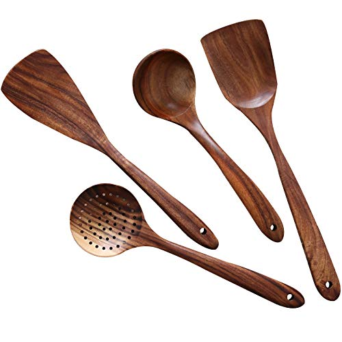 Natural Teak Wood Kitchen Utensils Set