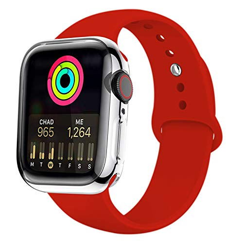 Uitee Apple Watch Band with Case, Soft Silicone Sport Replacement Wristband with Apple Watch Screen Protector Compatible for iWatch Apple Watch Series 5/4 44MM M/L (Red)