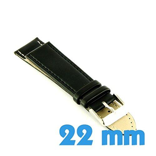 My-Reloj de pulsera, diseño de reloj, color negro, tamaño: 22 mm pulsera Material: piel y otros materiales: bucle de piel, color gris