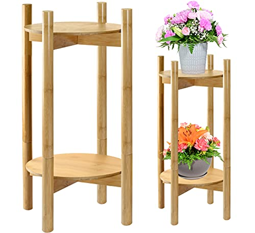 Tall Plant Stand, Bamboo Wood (Height 24-Inch, Convertible), 2-Tier Planter...