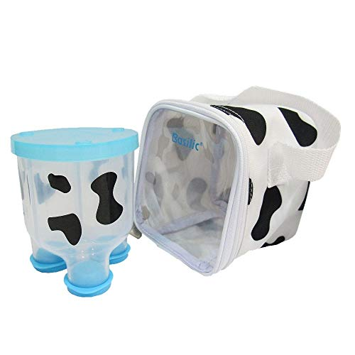Great Deal! Basilic Baby Formula Milk Powder Dispenser/Snack Storage Cow Pattern – 3 Compartment (Blue)