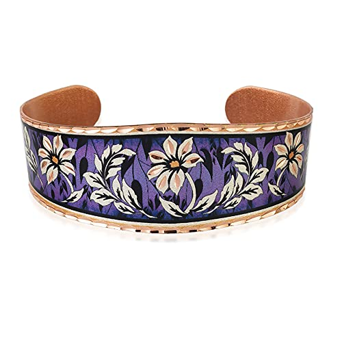 Pulseras de flores de margaritas con fondo púrpura texturizado, pulseras de flores abiertas, joyas...