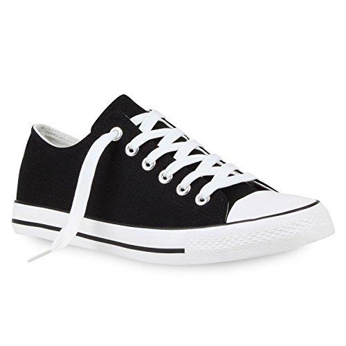 stiefelparadies Herren Sneakers Low Canvas Profilsohle Turn Schuhe 114469 Schwarz Weiss 43 Flandell