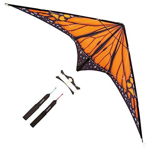 multi purpose cheap stunt kite palaeonEarth Dual La Instant Kite, 90-inch wingspan, printed monarch-style sails