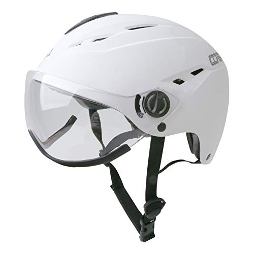 Corsa Casco de Bicicleta con Gafas y ventilaciones Ajustables Cascos de montaña y Carretera para Hombre y Mujer (Blanco)
