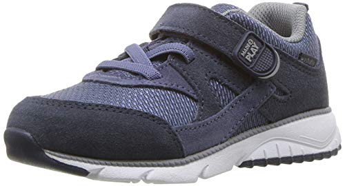 Stride Rite Baby Ace Boy's and Girl's Premium Leather Sneaker, Navy, 6 W US Toddler