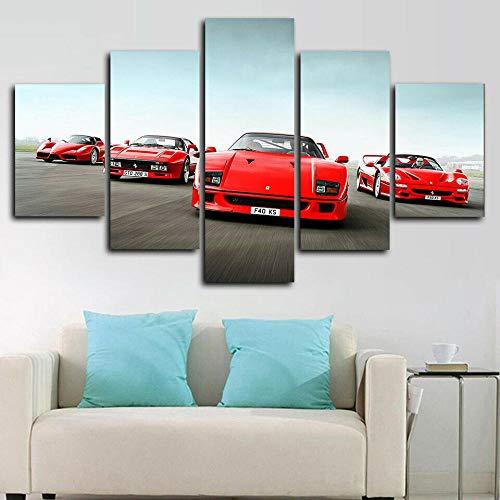 Impresión de Imagen 5 Piezas Cuadro en Lienzo Grupo Classic Ferrarcar Cars F40 Lienzo Impreso, Cuadro ArtíStico para Pared, DecoracióN De HabitacióN para NiñOs, Pintura, Mural,