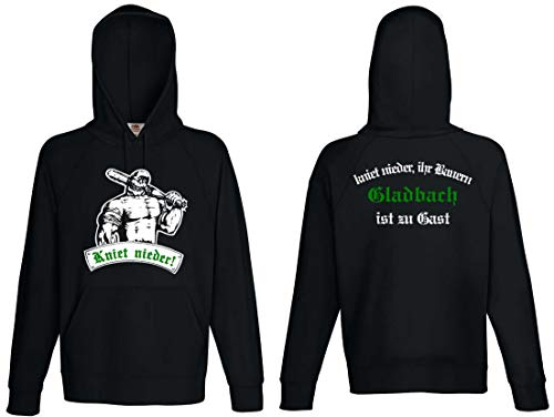 World-of-Shirt Herren Kapuzensweat Gladbach Ultras kniet nieder|M
