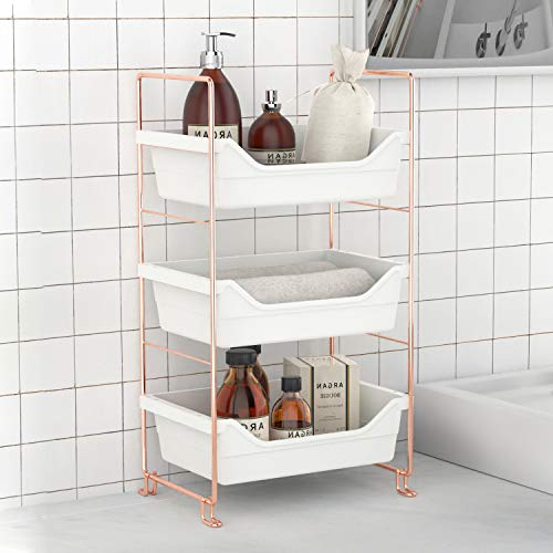 Desktop Cosmetics Storage Rack Rose Gold for Bathroom Makeup Organizer Assembled Kitchen Seasoning Iron Storage Shelves Rose Gold 3-Layers
