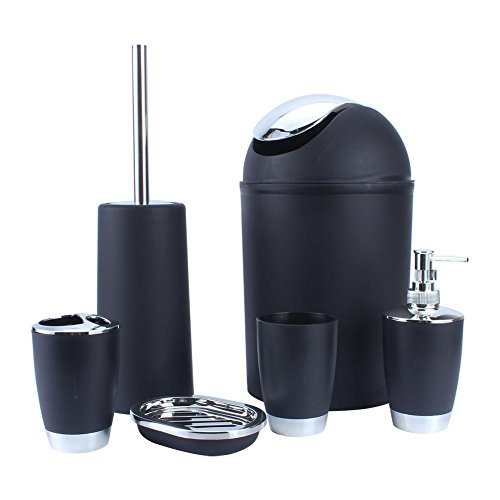ROBTLE Bathroom Accessory Set 6Pcs, Plastic Gift Set Toothbrush Holder Toothbrush Cup Soap Dispenser Soap Dish Toilet Brush Holder Trash Can Tumbler Straw Set Bathroom (Purple)