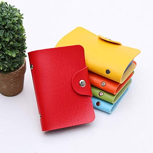 Fashion Credit Card Holder Men Women Travel Cards Wallet PU Leather Buckle Business ID Card Holders-Red