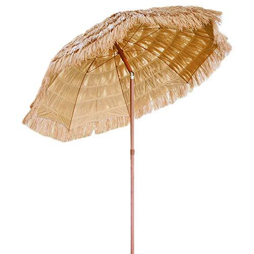 6ft Sonnenschirm Outdoor Hula Thatched Tiki Regenschirm Tropical Hawaiian Patio Straw Umbrella Bast Regenschirm mit Druckknopf Tilt Natural Color Tiki Natural,Straw Umbrella
