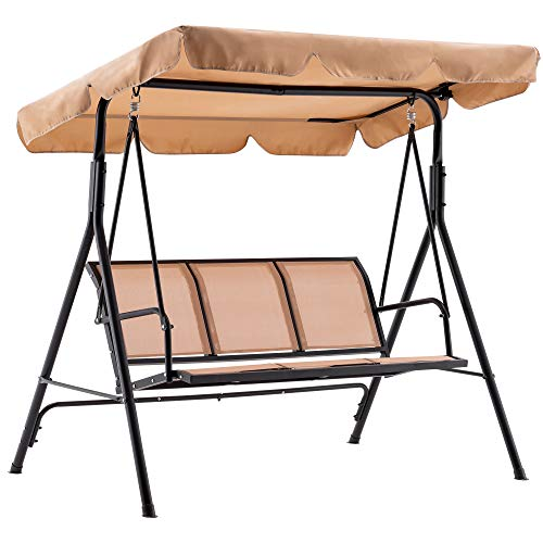 Mcombo Outdoor Patio Canopy Swing Chair 3-Person,...