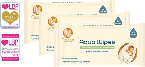 Aqua Wipes Baby Tücher (3 x 64 Tücher, 192 Tücher), 100 % biologisch abbaubar, geeignet ab der Geburt, 99,6% gereinigtes Wasser, vegan, plastikfrei, Parabenfrei, Parfümfrei, NHS-zertifiziert