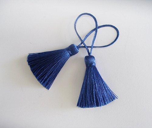 Royal Blue Tassel Silk Dangling Trim Fringe DIY Jewelry Making Scarf Braid Woven Sewing Supply 2 Pieces
