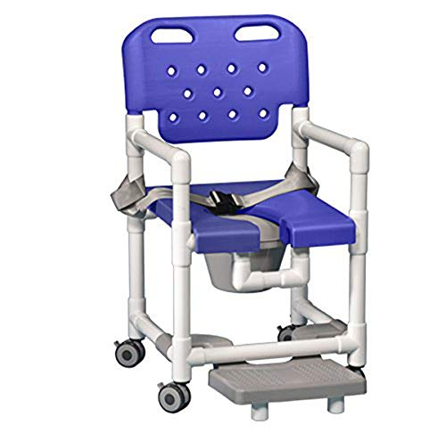 IPU ELT817 P FRSB Elite Shower Chair Commode with Footrest and Safety Belt for use Over existing Toilet, Bedside, and in The Shower (Blue)