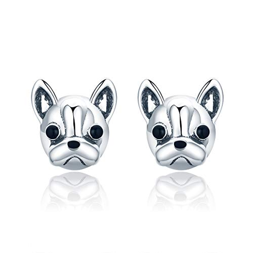 IminiJewelry French Bulldog Cute Dog Sterling Silver Stud Earrings for Women Girls Sensitive Ears Nice Gifts