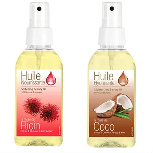 2 Sprays d'Huiles Cosmetique Huile de Ricin et Huile de Cocon\