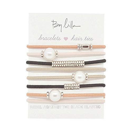 By Lilla Chocolate Chip Stack Elastic Hair Ties and Bracelets | Set of 8 Hair Tie-Bracelets | Hair Accessories for Women | No Crease Hair Ties & Women's Bracelets (Rose / White Pearl / Nude / Black / Silver)