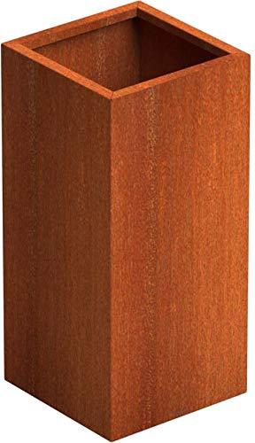 SENZZO Jardinera de acero Corten 37x37x80 cm Maceta Cortensteel