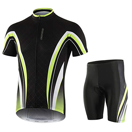 emansmoer Homme Compression Cycling Biking Jersey Short Sleeve T-Shirt Shorts Bicycle Suits Stretch Quick Dry Tights(XXL,Black Green)
