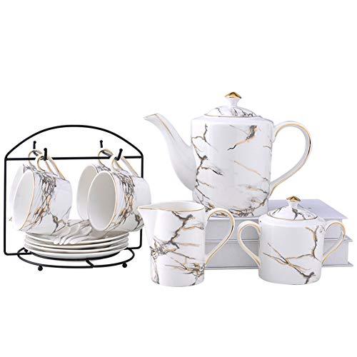 SETSCZY 10 Piezas Juego de Té de Cerámico Europeo, Flor Borde Dorado Juego de Té de Porcelana Juego de Café Vintage con Soporte de Metal, para Regalo Boda Familia y Oficina