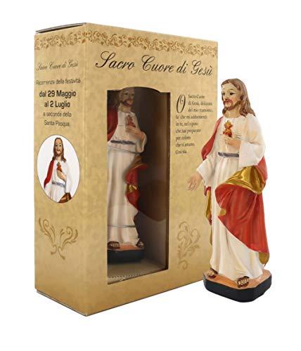 Statua del Sacro Cuore di Gesù di altezza 12cm con segnalibro in confezione regalo