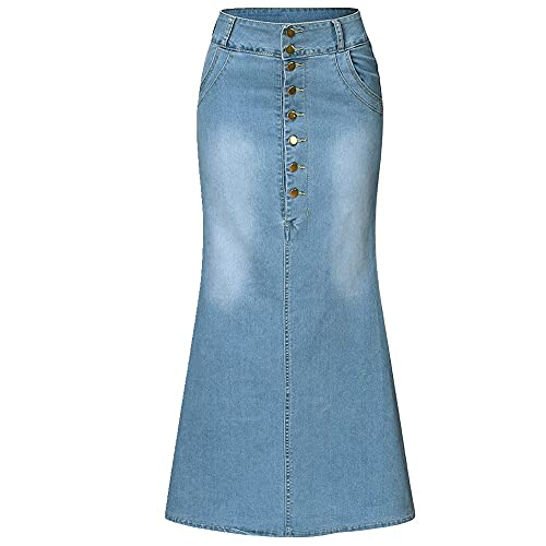 N\P Faldas para mujer falda casual con botones delanteros lavados, falda de mezclilla larga, falda casual