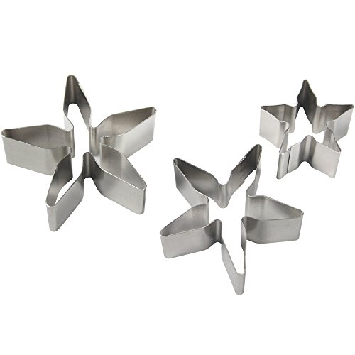 PME RC180 Stainless Steel Rose Calyx / Poinsettia Flower Petal Cutters, Set of 3 Silver 3.7 x 1.2 x 3.9 cm