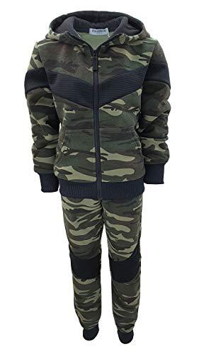 Fashion Boy Jungen Army Sweatanzug Tarn Freizeitanzug in Grün Camouflage, Gr. 152-158, JF278.14