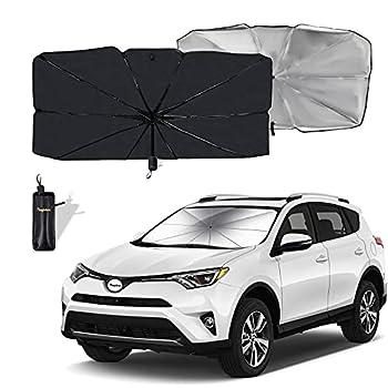 Moyidea Windshield Sun Shade Foldable Umbrella Reflective Sunshade for Car Front Window Blocks UV Rays Heat Keep Vehicle Cool Fits Most Vans SUVs  57 x 31 in