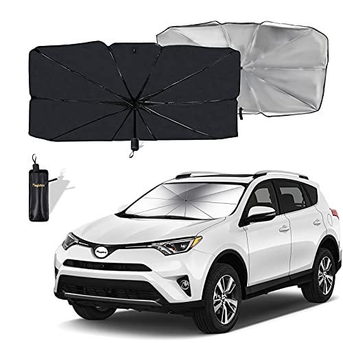 Moyidea Windshield Sun Shade Foldable Umbrella Reflective Sunshade for Car Front Window Blocks UV Rays Heat Keep Vehicle Cool, Fits Most Vans SUVs (57 x 31 in)