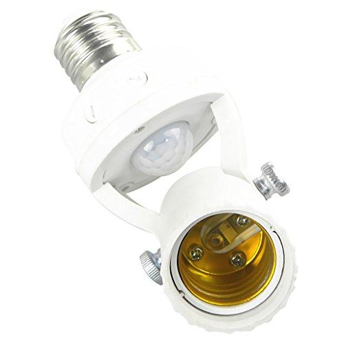 Weiß E27 Lampenfassung mit 360° PIR Bwegungsmelder und Automatischer Lichtschalter
