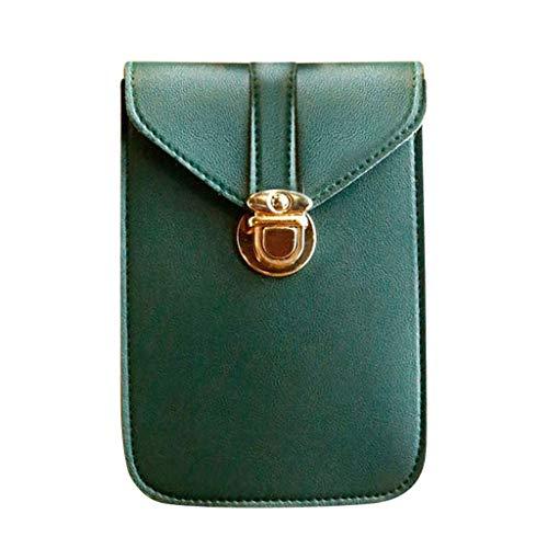 Bandolera de mujer mini bolso retro bolso bandolera de cuero (verde ejército)