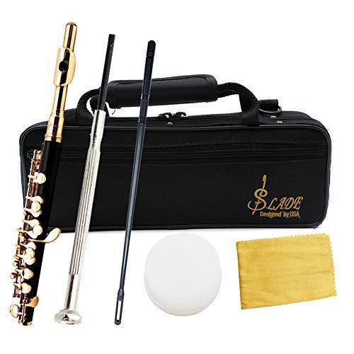 XuBa Piccolo Halbgroße Flöte aus Cupronickel, versilbert, C-Schlüsselton mit Poliertuchhülse, Schraubendreher Gold