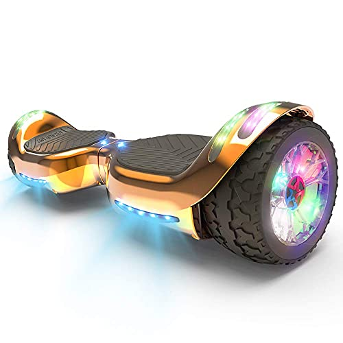 HOVERSTAR HS 2.0v Hoverboard All-Terrain Two Wide Wheels Design Self Balancing Flash Wheels Electric Scooter with Wireless Bluetooth Speaker and More LED Lights (Chrome Rosegold)