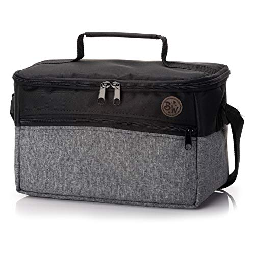BAMBINIWELT Tasche für Toniebox, Musikbox-Tasche, für Hörwürfel z.B. Toniebox und Tigerbox Touch, verstellbare Innenfächer, Netzfach für Zubehör, Toniebox Tasche (grau meliert)
