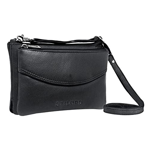 STILORD 'Merle' 3-in-1 Umhängetasche Handtasche Handgelenktasche Leder Elegante Damen Ledertasche mit abnehmbarem Schultergurt und Handschlaufe Echtleder, Farbe:schwarz