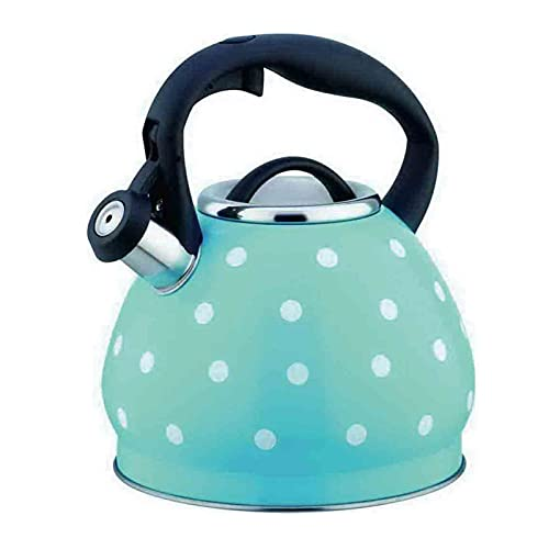 Camping Coffee Pot, 3 Quart Stainless Steel for Stove Top Polka Dot Teapot, One-Button Opening and Closing Design for Home and Outdoor Use (Color : Blue, Size : 3L)