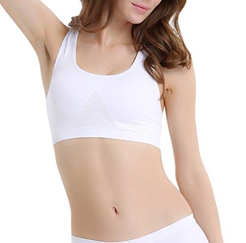 Bigood Femme Sport Uni Soutien-Gorge en Nylon Confort Brassière sans Armature Vogue Blanc Taille M