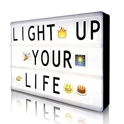 Cinema Light Box with 190 Letters Symbols Emjios- A4 Size Cinematic Light Box DIY LED Letter Lamp for Home Decor Photo Shoots Birthday Party from Gemaxvoled