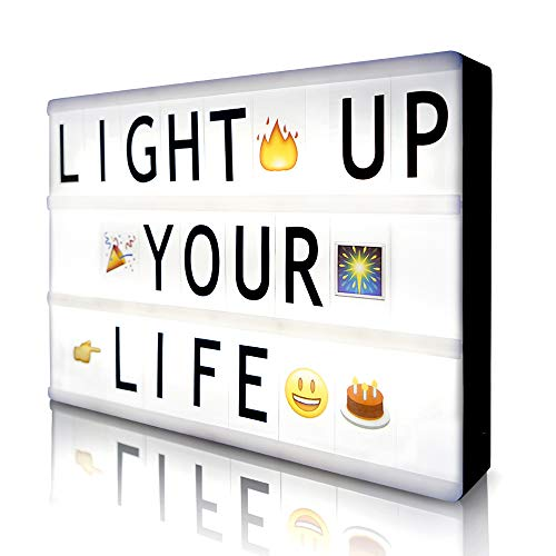 Cinema Light Box with 190 Letters Symbols Emjios- A4 Size Cinematic Light Box DIY LED Letter Lamp for Home Decor Photo Shoots Birthday Party