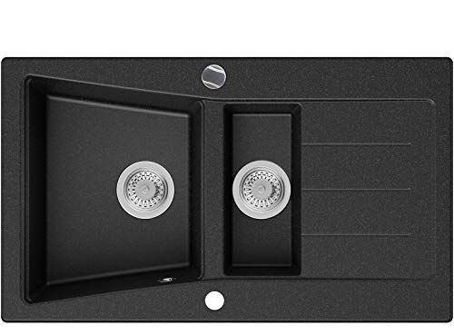 Granitspüle Graphit 88 x 52 cm, Spülbecken + Siphon Automatisch, Küchenspüle ab 60er Unterschrank in 5 Farben mit Siphon und Antibakterielle Varianten, Einbauspüle von Primagran